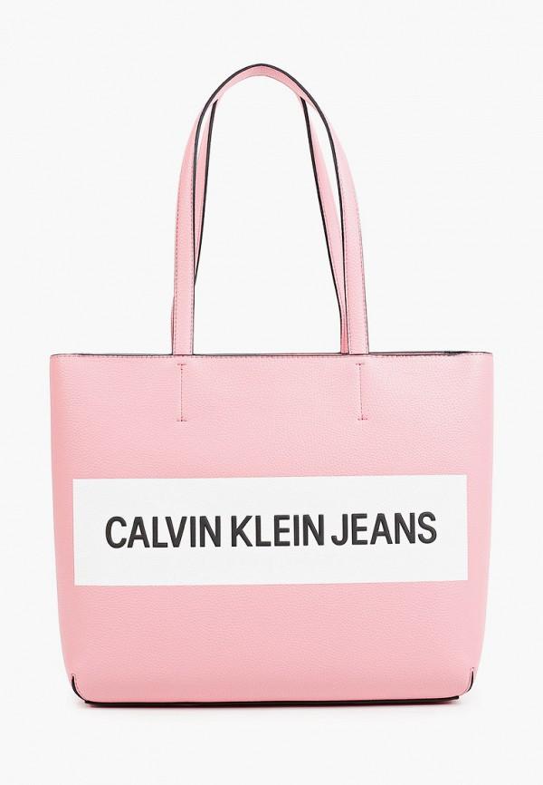 женская сумка-шоперы calvin klein, розовая