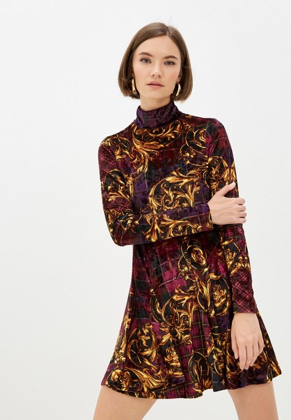 женское повседневные платье versace, фиолетовое