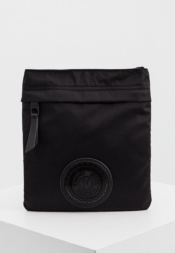 мужская сумка через плечо versace, черная