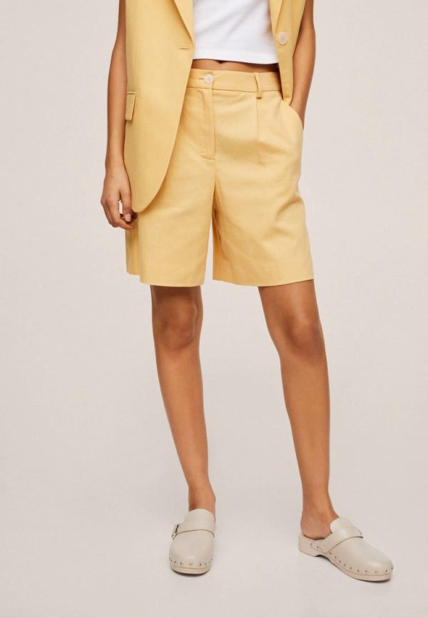женские повседневные шорты mango, желтые