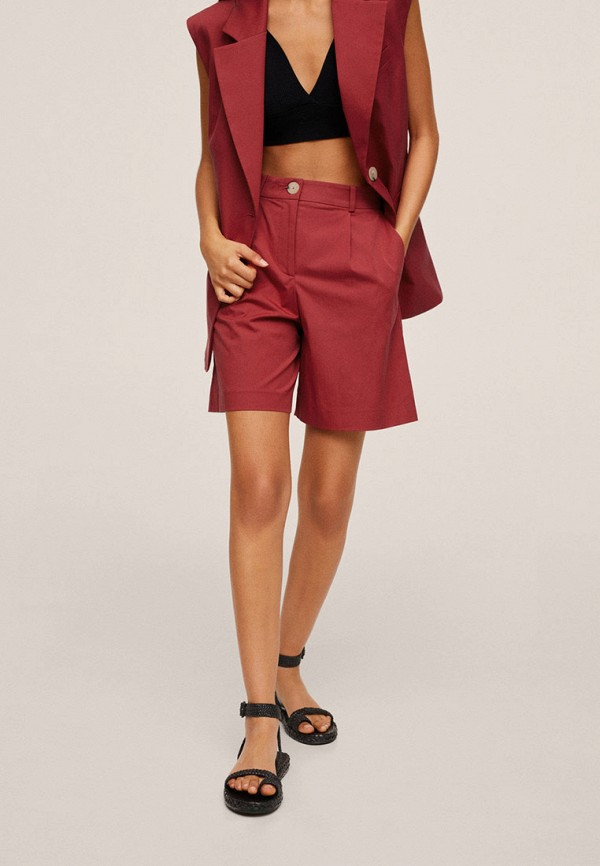 женские повседневные шорты mango, бордовые