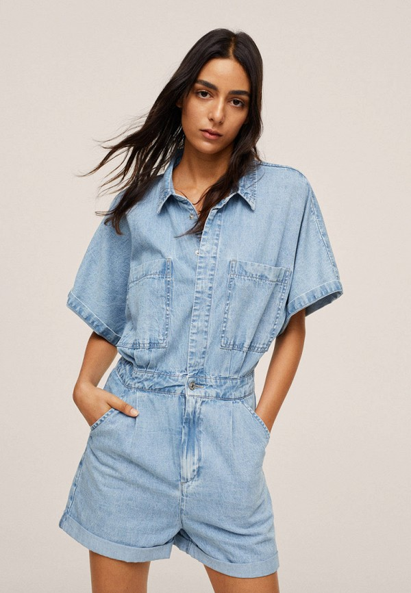 женский джинсовые комбинезон mango, голубой
