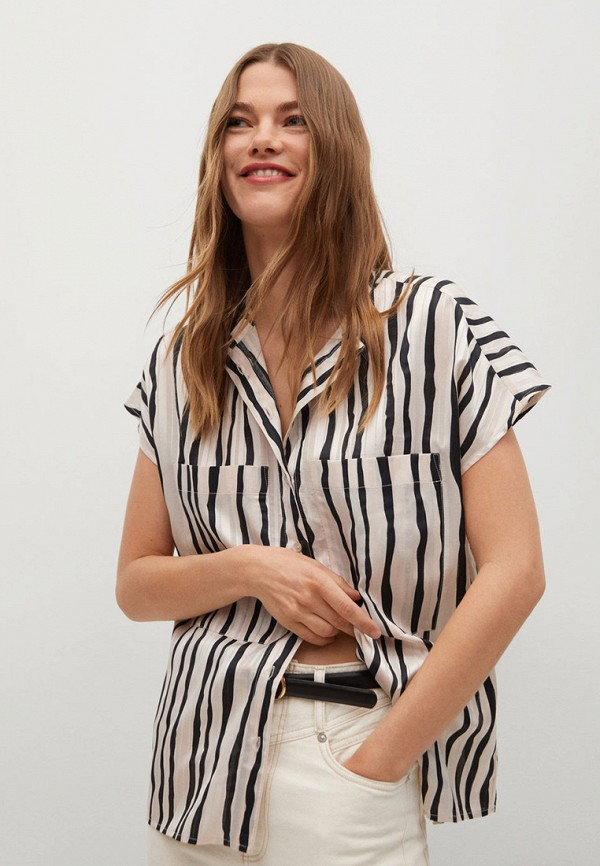 женская рубашка с коротким рукавом mango, белая