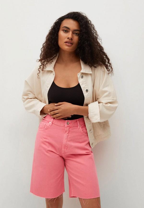 женские джинсовые шорты mango, розовые