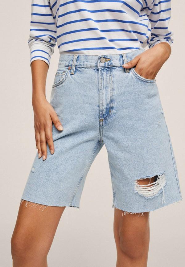 женские джинсовые шорты mango, голубые