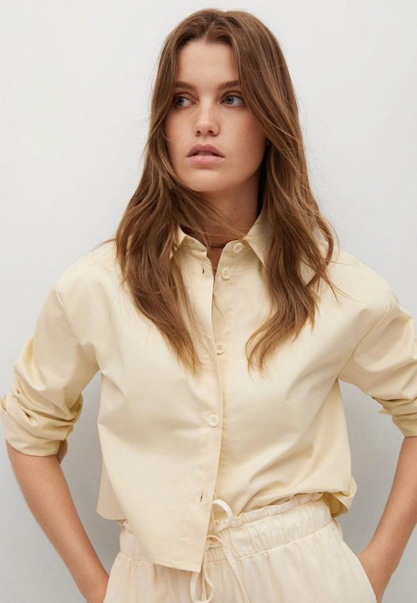 женская рубашка с длинным рукавом mango, бежевая