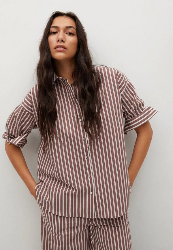 женская рубашка с длинным рукавом mango, коричневая