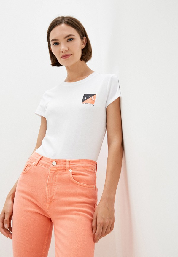 женская футболка armani exchange, белая