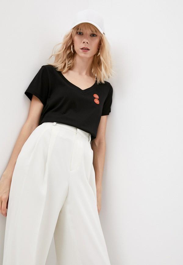 женская футболка armani exchange, черная