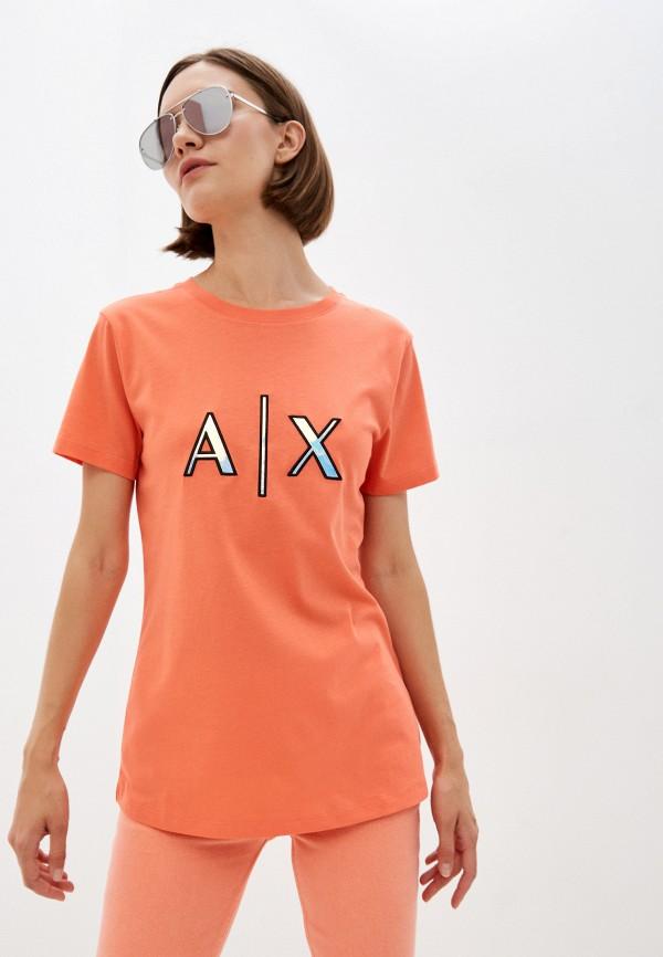 женская футболка armani exchange, оранжевая