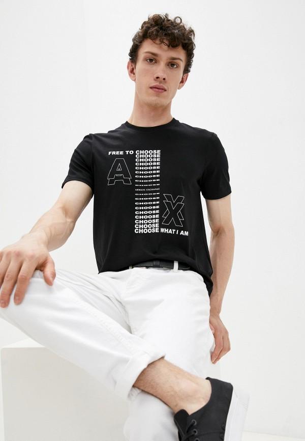 мужская футболка с коротким рукавом armani exchange, черная