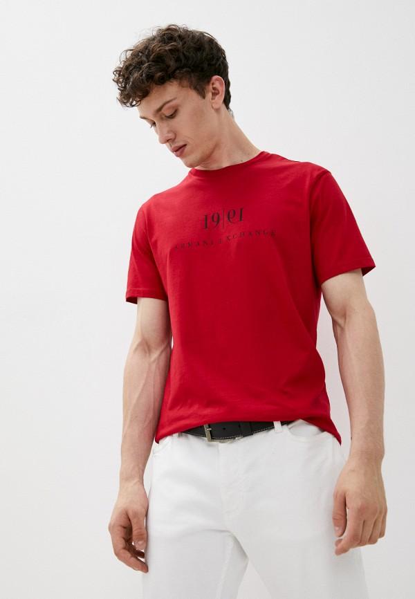 мужская футболка с коротким рукавом armani exchange, красная