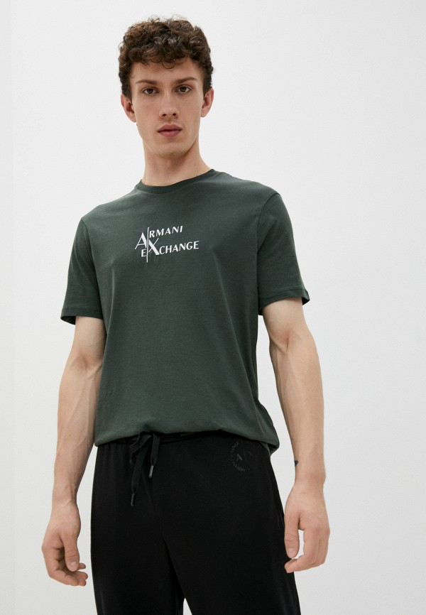 мужская футболка с коротким рукавом armani exchange, зеленая
