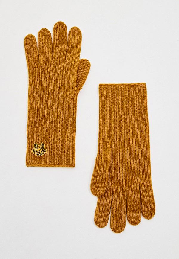 женские текстильные перчатки kenzo, оранжевые