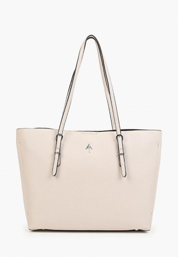 женская сумка-шоперы max & enjoy, бежевая