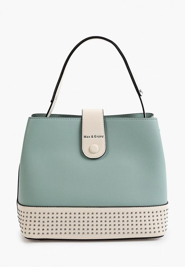 женская сумка с ручками max & enjoy, бирюзовая