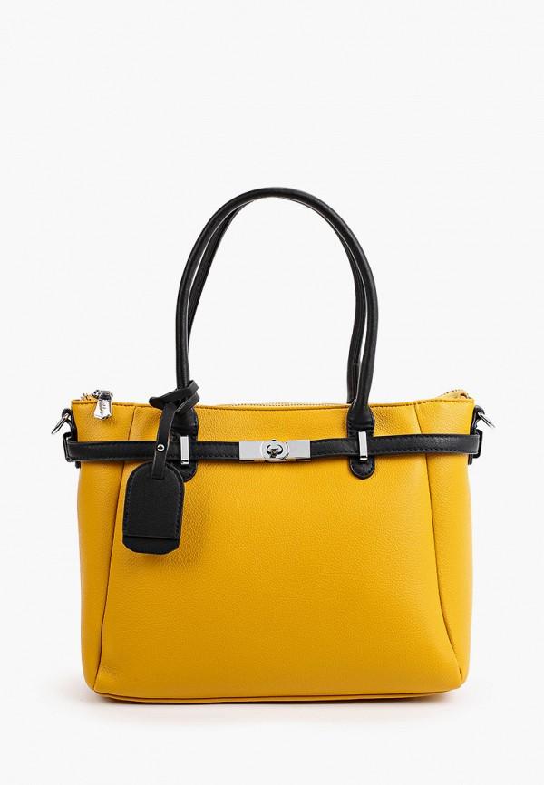 женская сумка с ручками max & enjoy, оранжевая