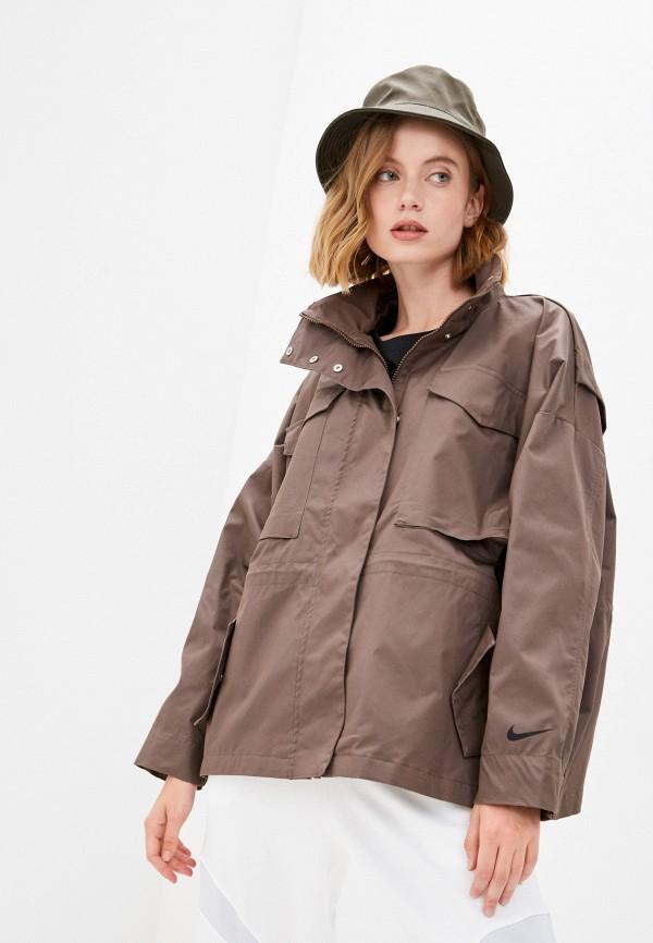 женская спортивные куртка nike, коричневая