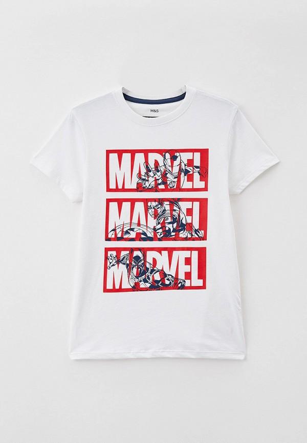 футболка с коротким рукавом marks & spencer для мальчика, белая