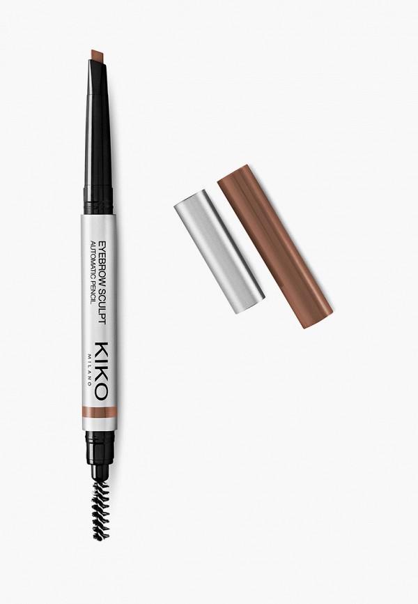 женский карандаш для бровей kiko milano, коричневый