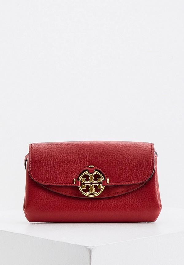 женская сумка через плечо tory burch, бордовая