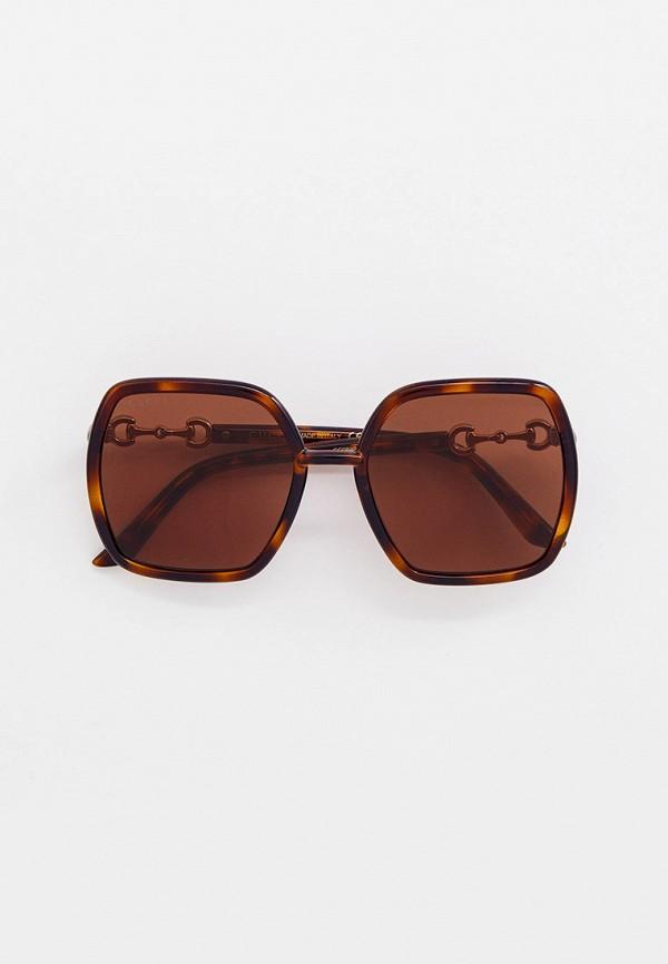 женские квадратные солнцезащитные очки gucci, коричневые