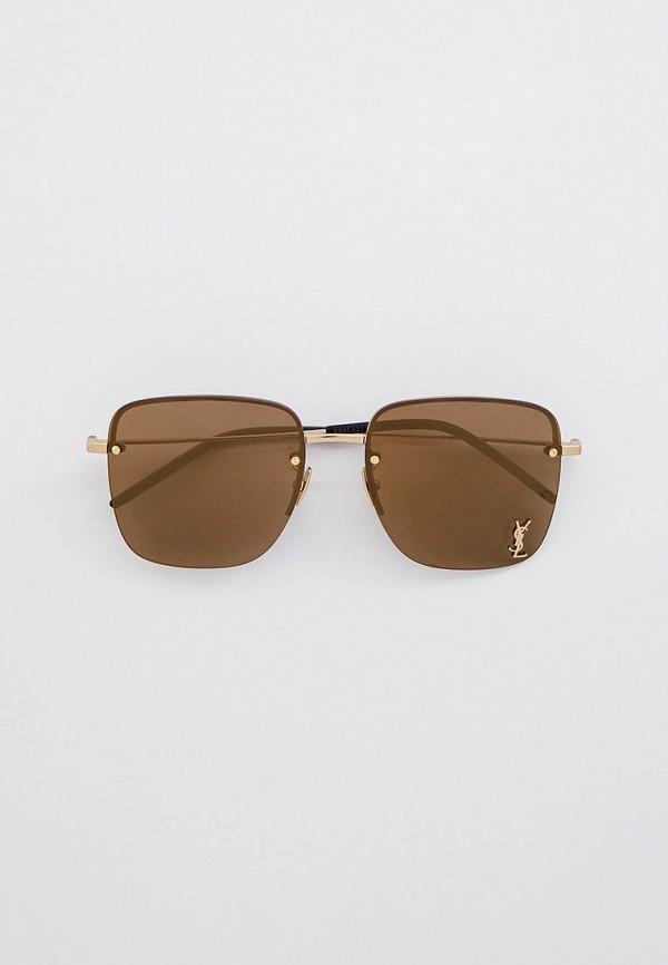 женские квадратные солнцезащитные очки saint laurent, золотые