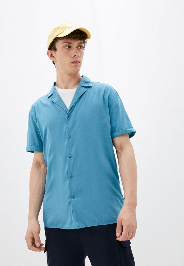мужская рубашка с коротким рукавом strellson, голубая