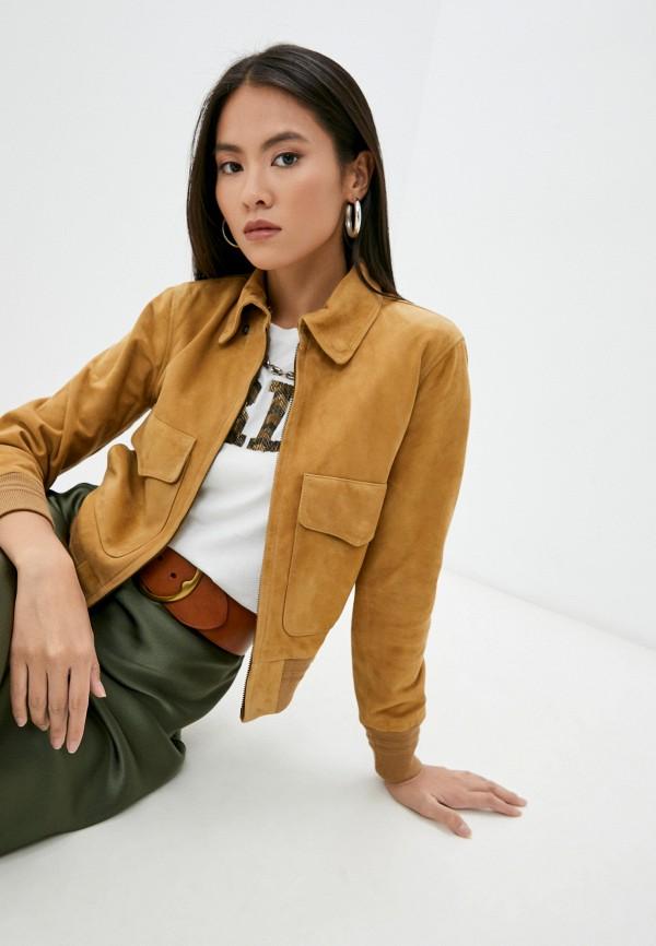женская кожаные куртка polo ralph lauren, коричневая
