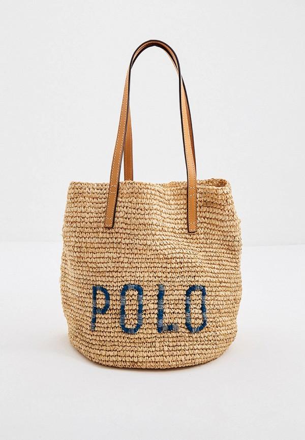 женская сумка через плечо polo ralph lauren, бежевая