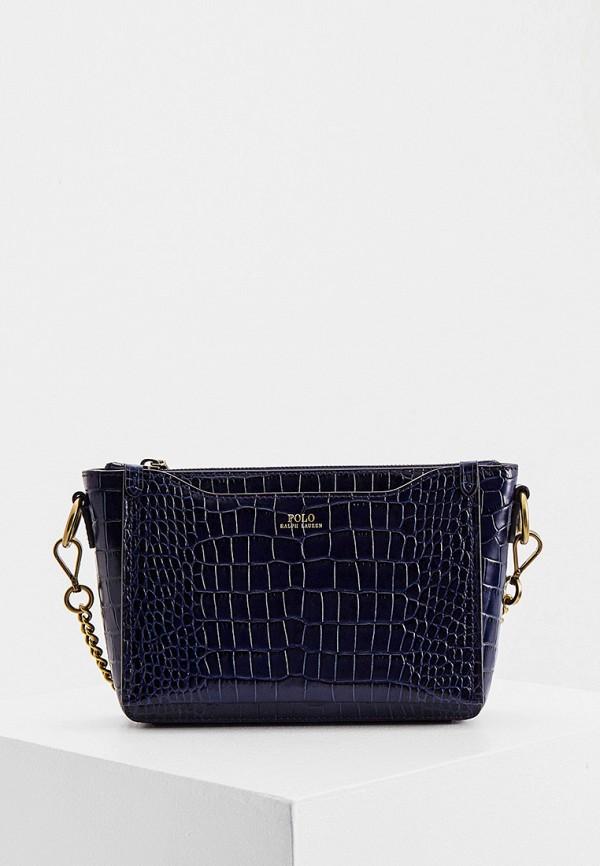женская сумка через плечо polo ralph lauren, синяя