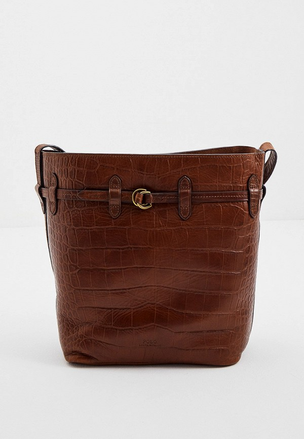 женский кошелёк через плечо polo ralph lauren, коричневый
