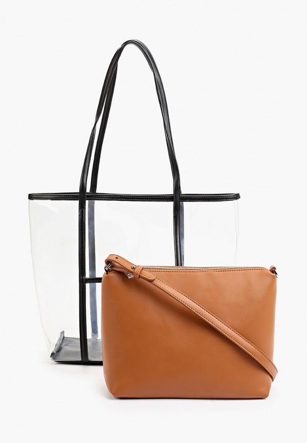 женская сумка-шоперы max & enjoy, коричневая