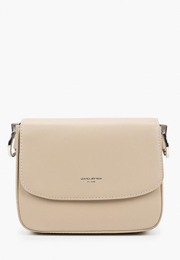 женская сумка через плечо david jones, бежевая