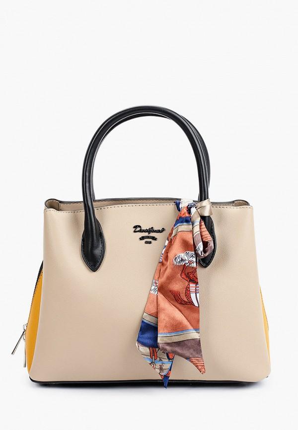 женская сумка с ручками david jones, бежевая