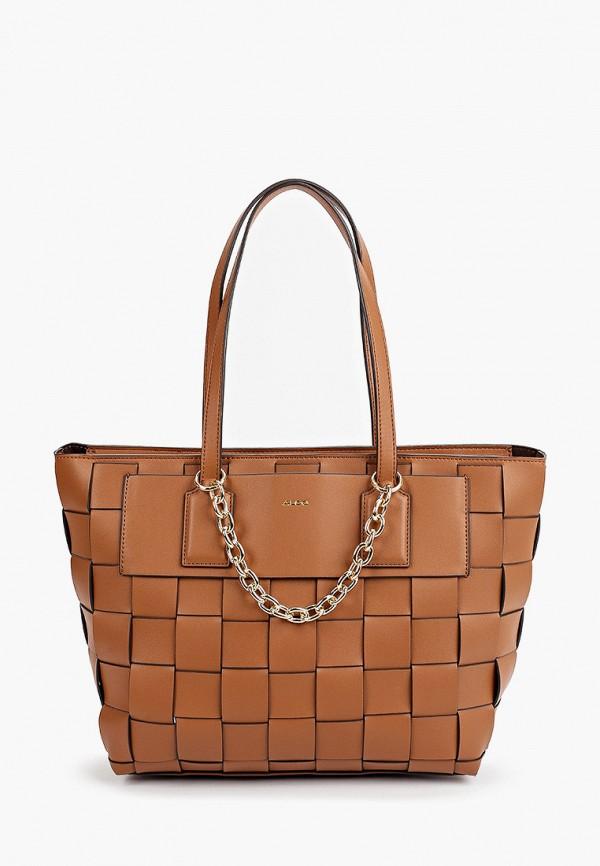 женская сумка-шоперы aldo, коричневая