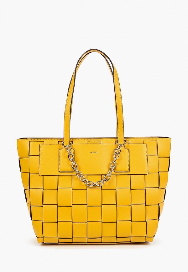 женская сумка с ручками aldo, желтая