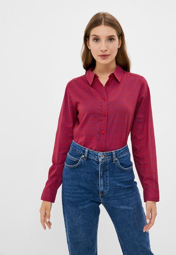 женская рубашка с длинным рукавом united colors of benetton, бордовая