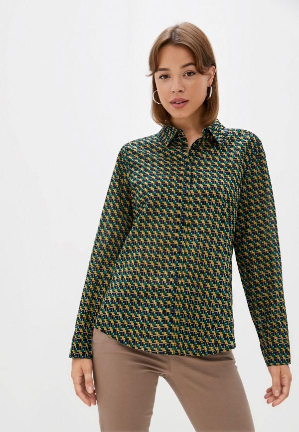 женская рубашка с длинным рукавом united colors of benetton, разноцветная