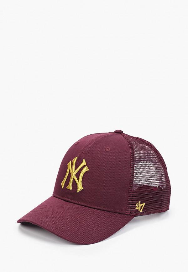 женская бейсболка '47 brand, бордовая