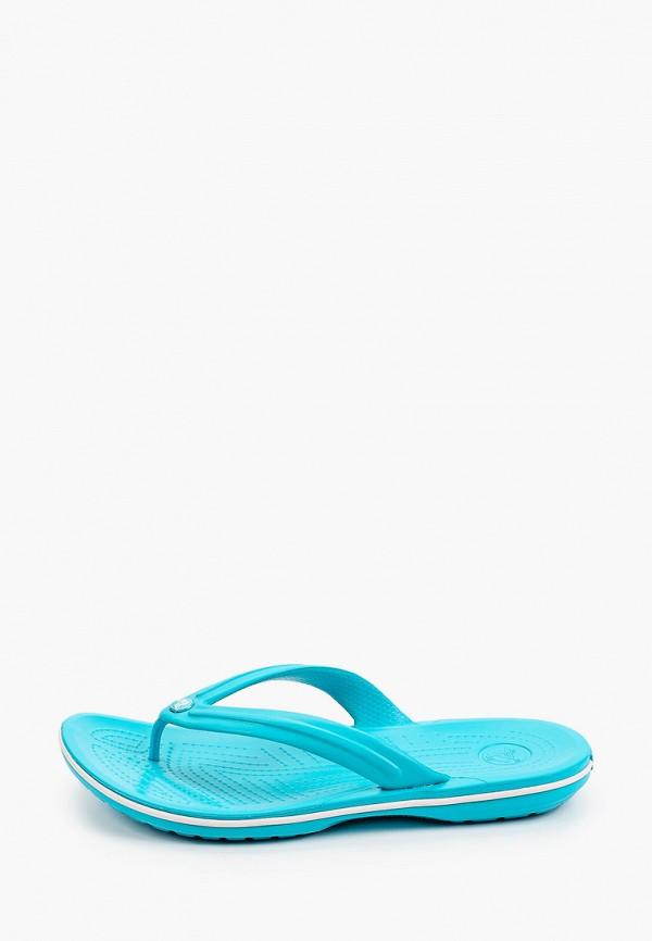 женские сланцы crocs, голубые