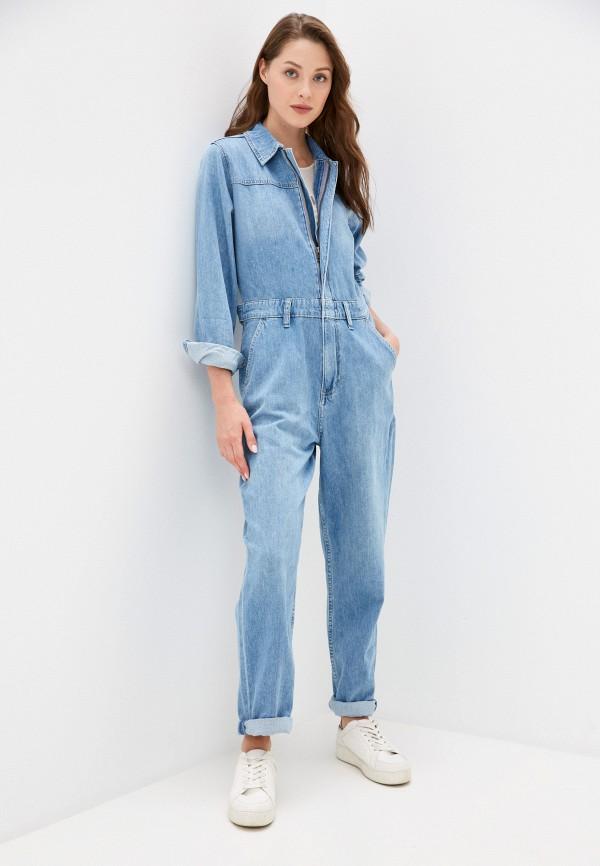 женский джинсовые комбинезон calvin klein, голубой