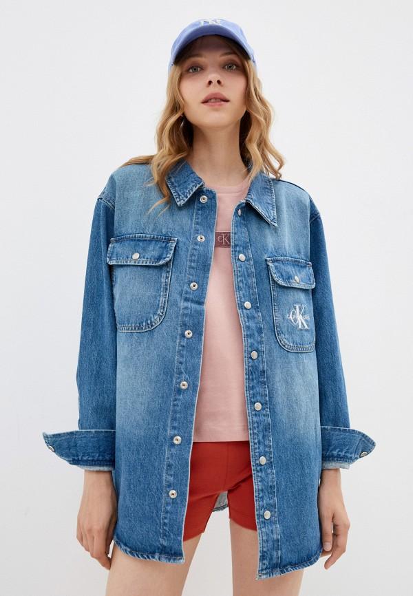 женская джинсовые рубашка calvin klein, синяя