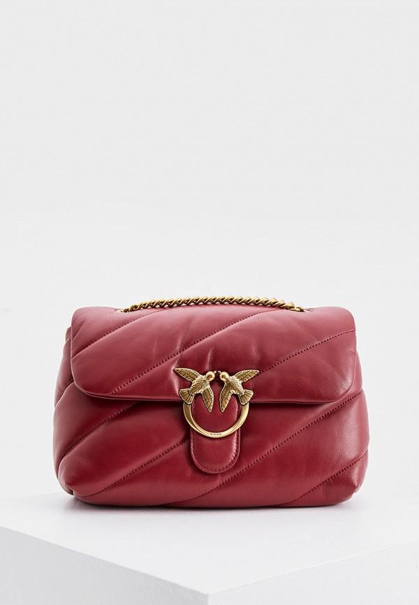женская сумка через плечо pinko, бордовая