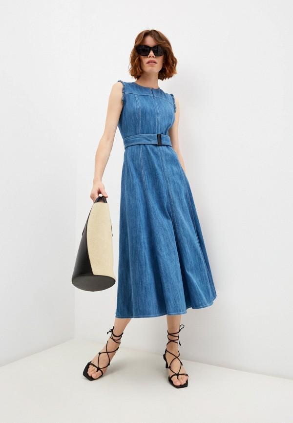 женское джинсовые платье akris punto, синее
