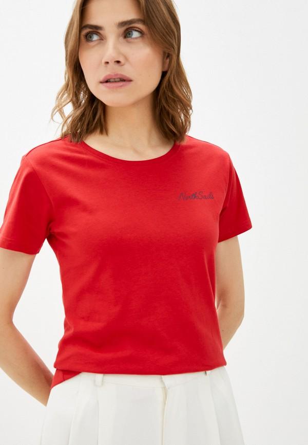 женская футболка north sails, красная