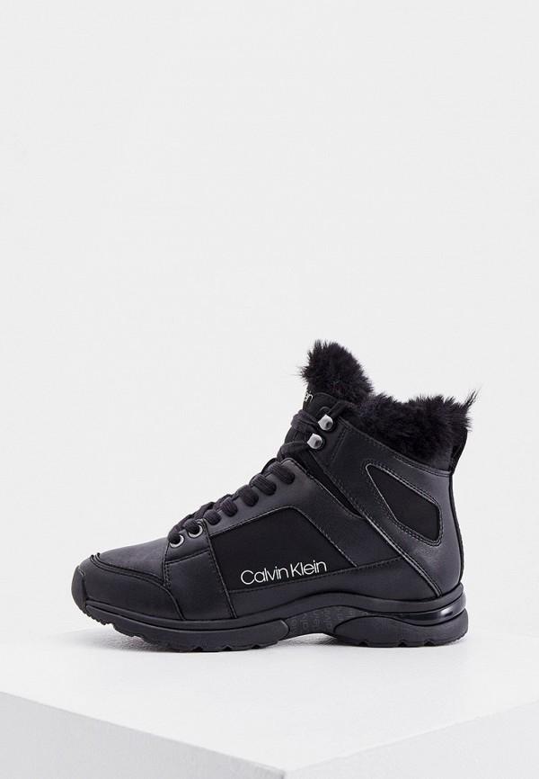 женские высокие ботинки calvin klein, черные