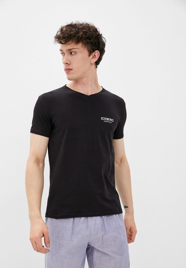 мужская футболка с коротким рукавом iceberg, черная