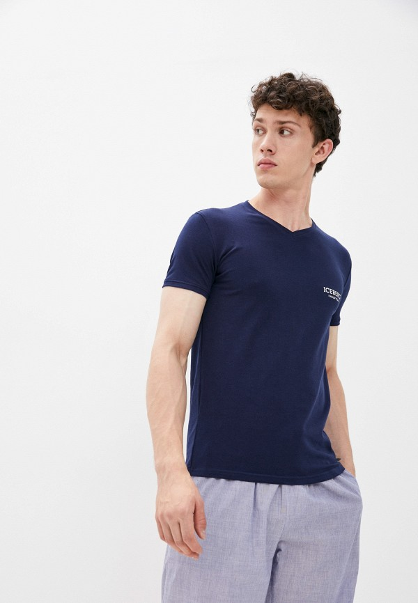 мужская футболка с коротким рукавом iceberg, синяя