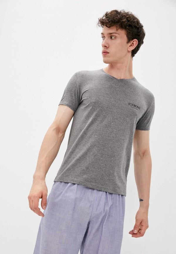 мужская футболка с коротким рукавом iceberg, серая